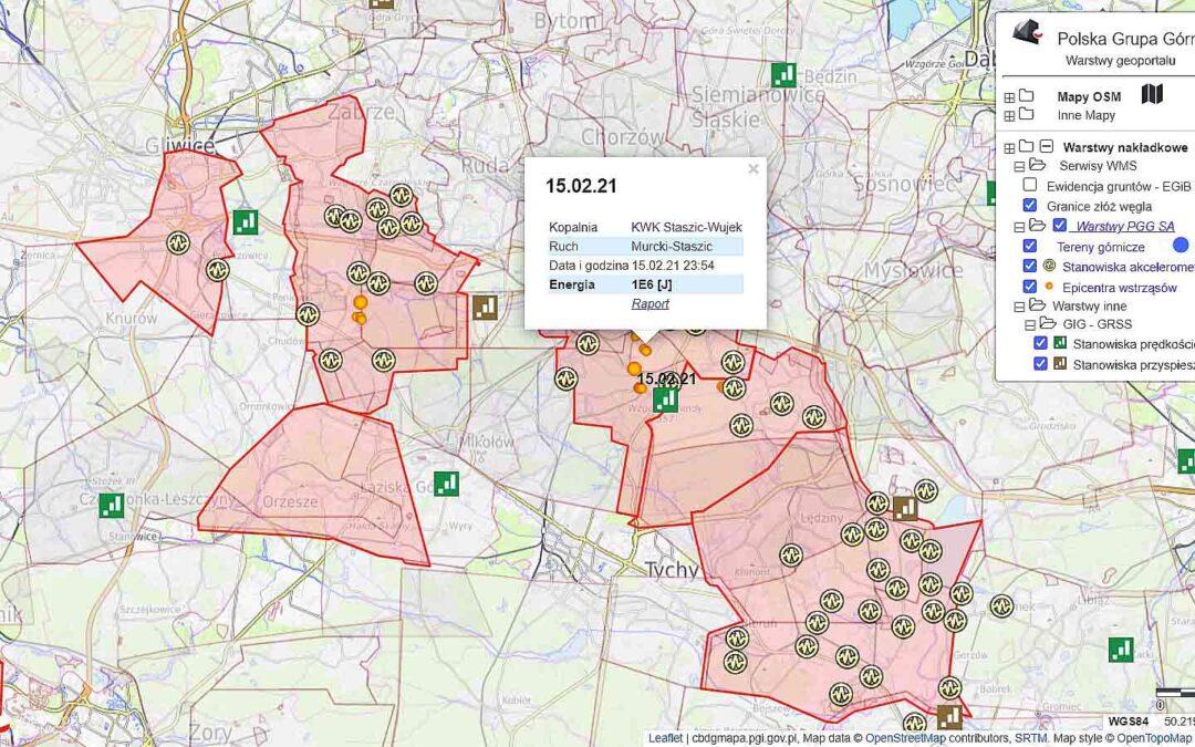 PGG S.A. udostępniła w internecie mapę wstrząsów górniczych swych kopalń