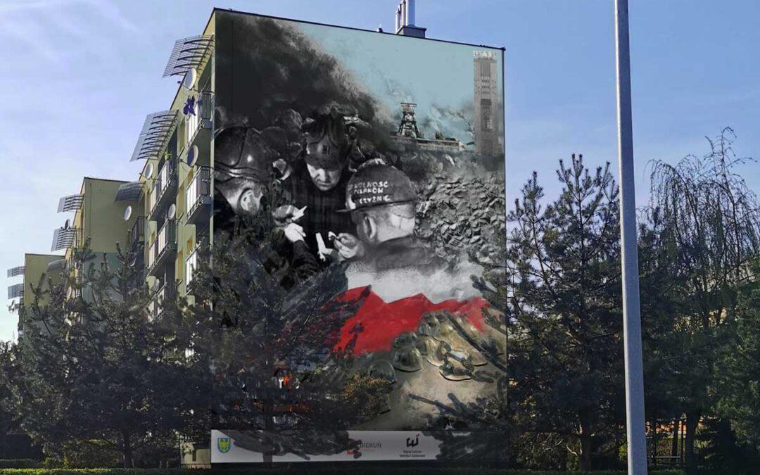 Mural poświęcony podziemnemu strajkowi